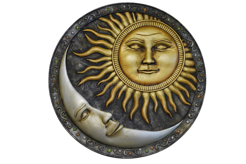Sun and Moon - Isolated. Whole view of a personified sun and moon engraving/decoration with isolated white background