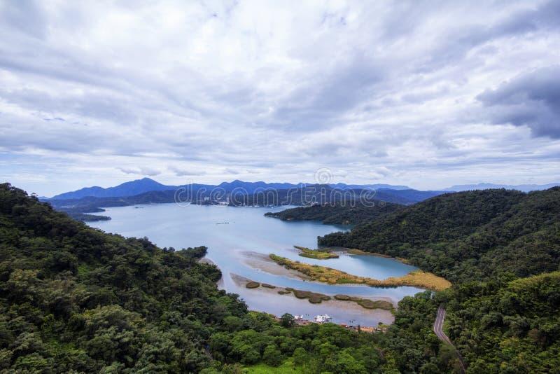 Sun Moon Lake. An aerial shot of the Sun Moon Lake (日月潭) from the Sun Moon Lake Ropeway (日月潭缆车) in Nantou stock image