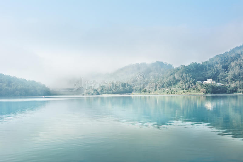 Sun Moon Lake. Landscape of famous Sun Moon Lake in the morning with mist in Taiwan, Asia stock image