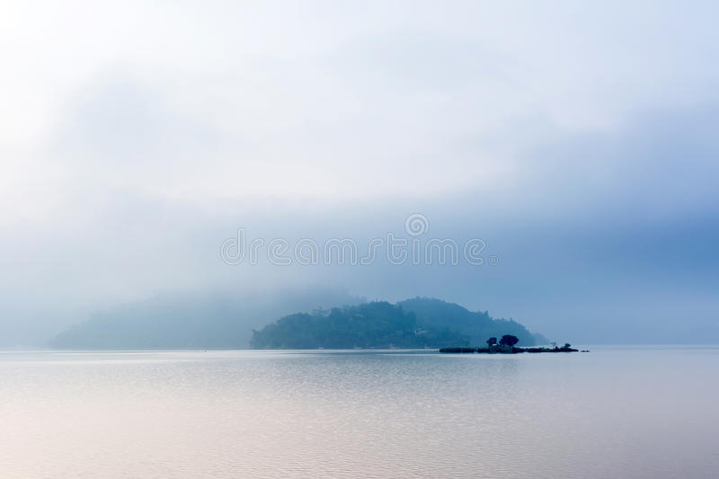 Sun Moon Lake. Landscape of famous Sun Moon Lake in the morning with mist in Taiwan, Asia stock photography