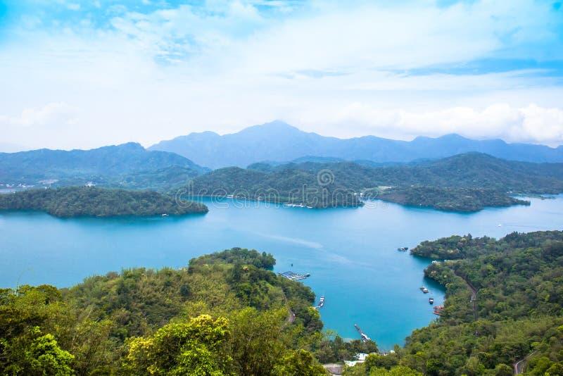 Sun moon lake. A magnificent scenery of Sun Moon Lake from the Ci-en Pagoda, Nantou, Taiwan stock images