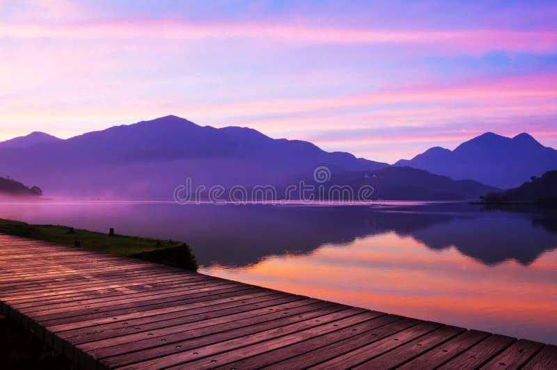 The Sun Moon Lake. In mist stock photo
