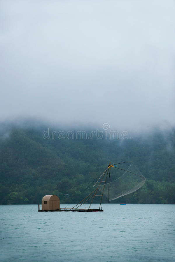 Sun Moon Lake in Nantou County, Taiwan fishing boat royalty free stock photos