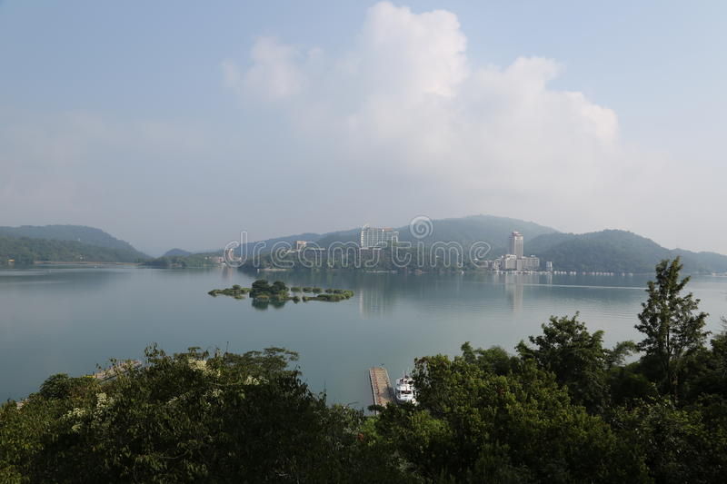 Sun Moon Lake. In Nantou County of Taiwan Province,  Lake 748 meters above sea level, normal area of 7.93 ㎞ ², it take brilliance island as territories stock photos