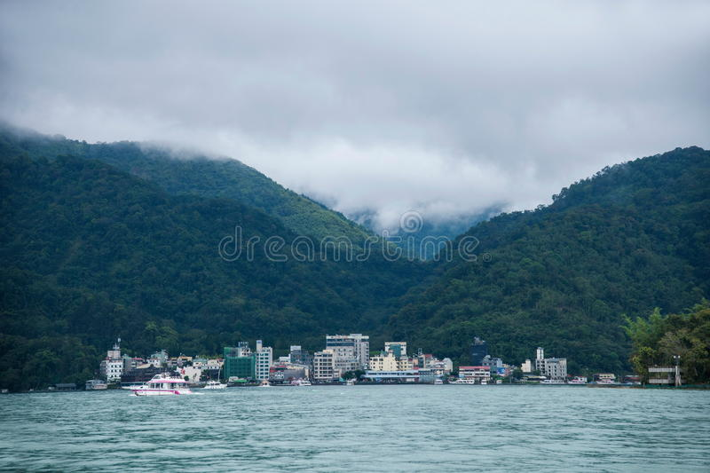 Sun Moon Lake in Nantou County, Taiwan on from the shuttle passenger yacht stock photography