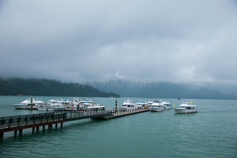Sun Moon Lake in Nantou County, Taiwan yacht Ferry Terminal royalty free stock images