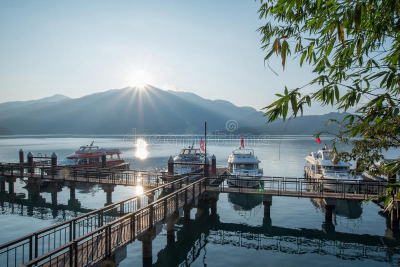 Sun Moon Lake pier during sunrise, Taiwan royalty free stock photo