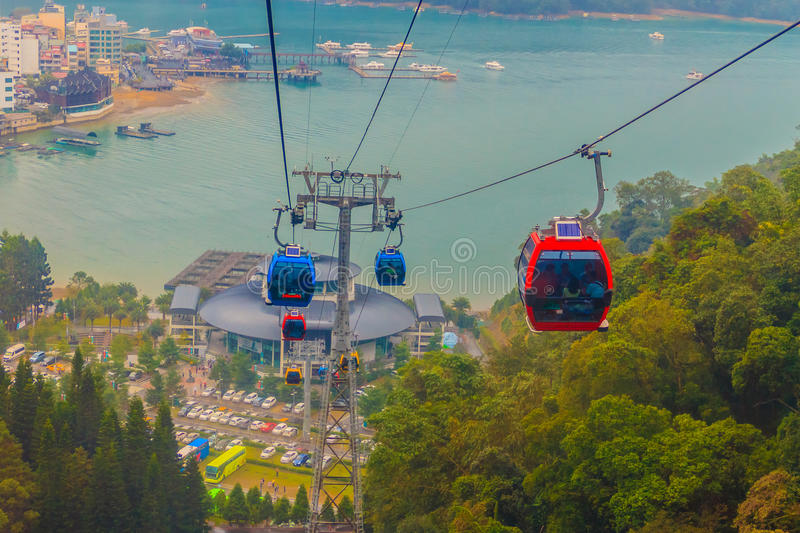 The Sun Moon Lake Ropeway is a scenic gondola cable car service. That connects Sun Moon Lake with the Formosa Aboriginal Culture Village theme park royalty free stock images