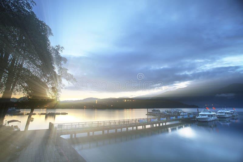 Sun moon lake during the sunrise time royalty free stock image