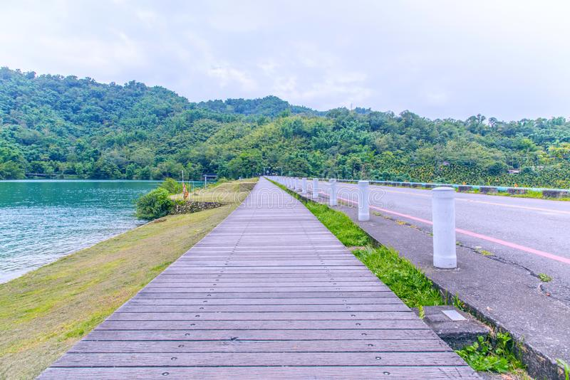 Sun Moon Lake of Taiwan. Sun Moon Lake Bicycle Trail, which is one of the ten the most of beautiful bike trail in the word by CNN news royalty free stock image
