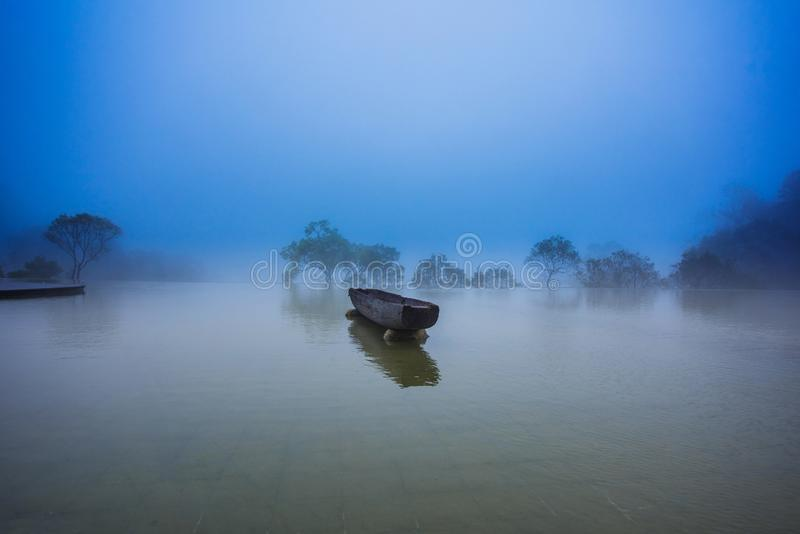 Sun Moon Lake of Taiwan. The canoe is a intallation art at Xiangshan Visitor Center of Sun Moon Lake royalty free stock photography