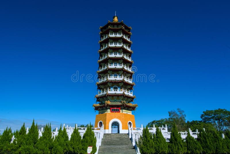 Sun Moon Lake of Taiwan. Sun Moon Lake Ci En Tower,Teh bulding is in memory of his mother by Chiang Kai-shek stock photos