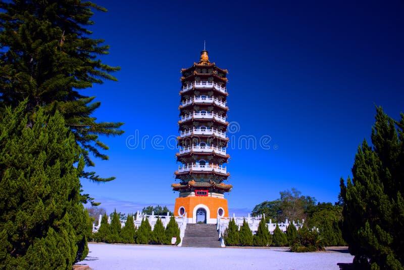 Sun Moon Lake of Taiwan. Sun Moon Lake Ci En Tower,Teh bulding is in memory of his mother by Chiang Kai-shek royalty free stock image