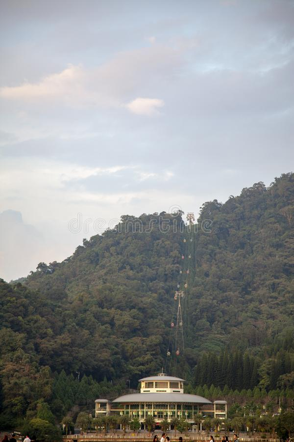 Sun moon lake,taiwan-October 13 ,2018:View of cable car center in mountain at sun moon lake for move to in side forest royalty free stock photography