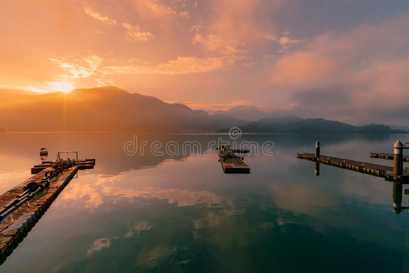 Sun moon lake in Taiwan, sunrise with reflection royalty free stock photo