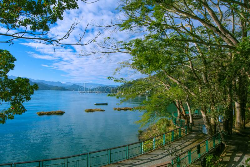 Sun Moon Lake of Taiwan. There are ten  beautiiful  Trails at Sun Moon Lake stock photo