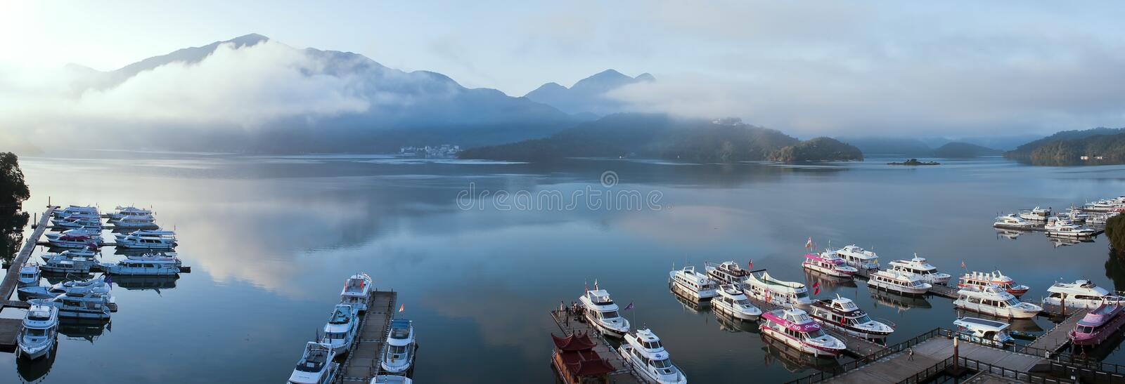 Sun Moon Lake with water reflection stock photo