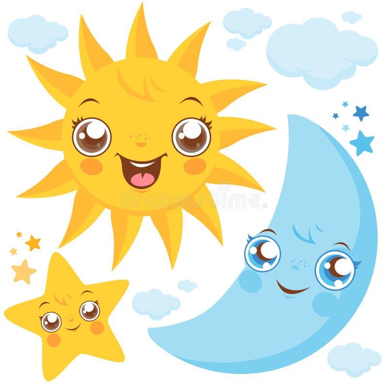 Sun Moon och stjärnor stock illustrationer
