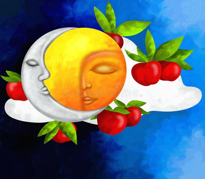 Sun And Moon With Red Apples Royalty Free Stock Image