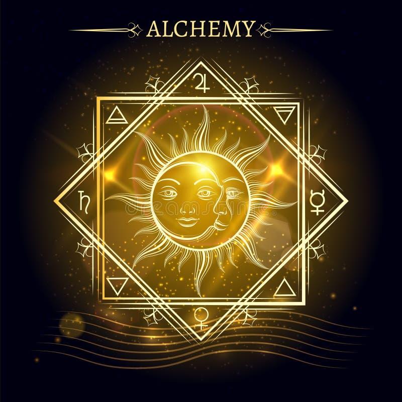Sun and moon on shiny background stock illustration