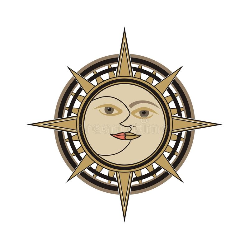 Sun and moon sign isolated on white backround vector illustration