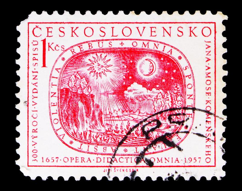 Sun, moon, stars and earth, Jan Amos Komensky (Comenius) serie,. MOSCOW, RUSSIA - MAY 15, 2018: A stamp printed in Czechoslovakia shows Sun, moon, stars and royalty free stock image