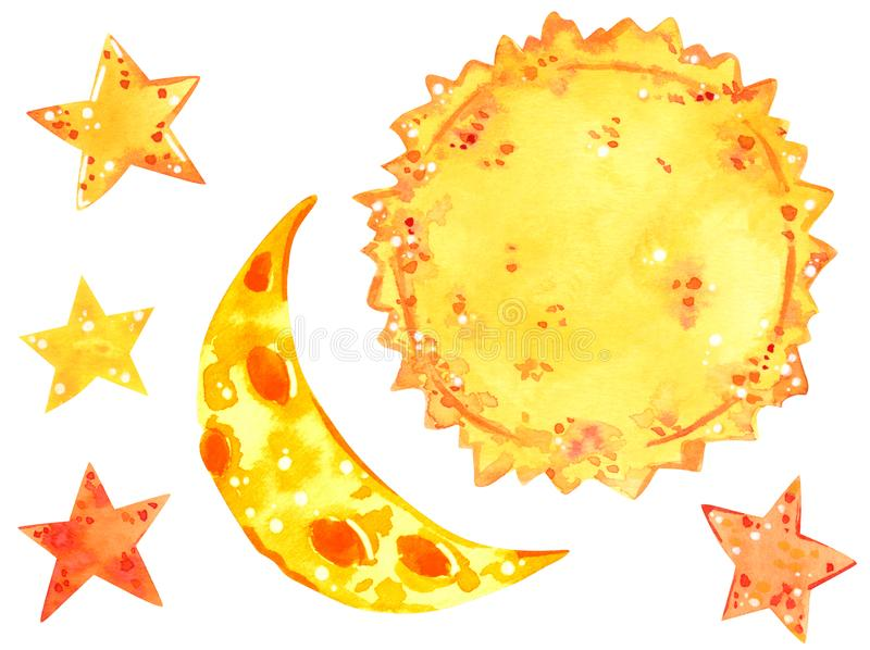 Sun, moon and stars, weather clipart set, hand drawn watercolor illustration. Isolated on white stock photos