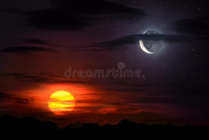 sun and moon stock image image of different cloudscape