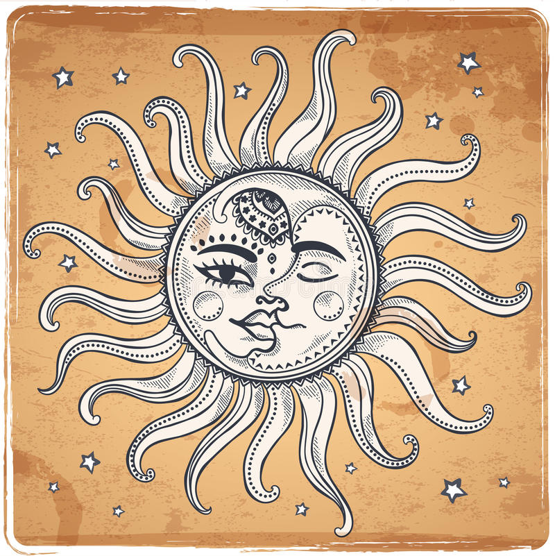 Sun and moon vintage illustration vector illustration