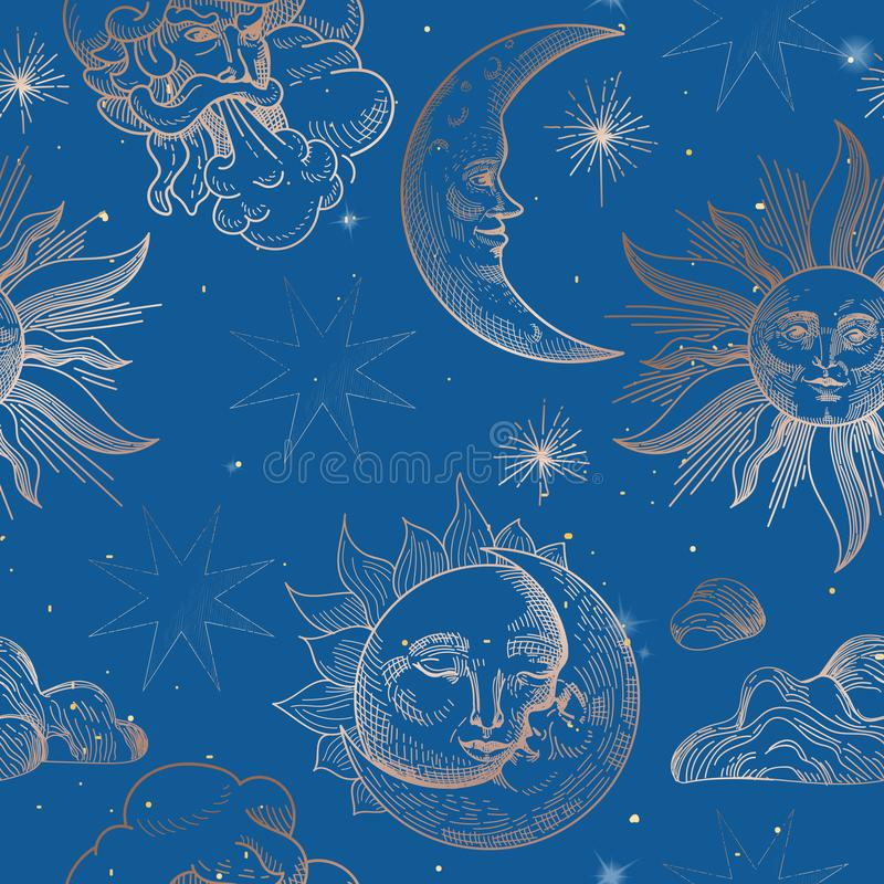 Sun and Moon Vintage Seamless Pattern. Oriental Style Background with Stars and Celestial Astrological Symbols Fabric stock illustration