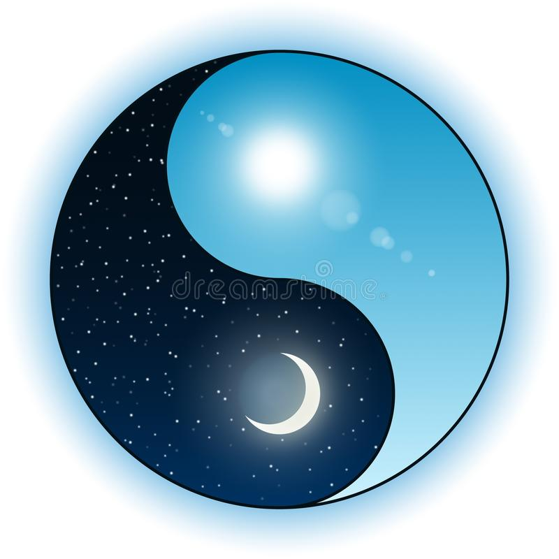 Sun and moon in Yin Yang symbol stock illustration