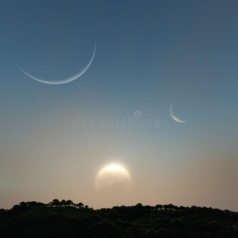 Download Sun And Moons Over The Hill Stock Illustration - Illustration of render, nature: 28824873