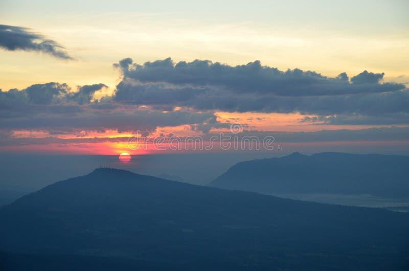 Sun mountain cloud stock photography