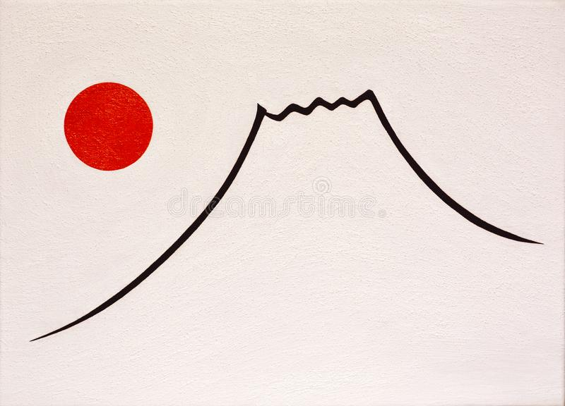 The Sun and Mt.Fuji. Japan vector illustration