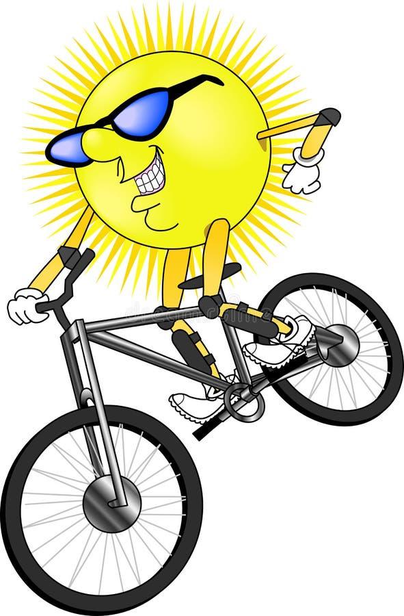Sun_mtn_bike. Raster graphic depicting an outdoor Summer activity (mountain biking vector illustration