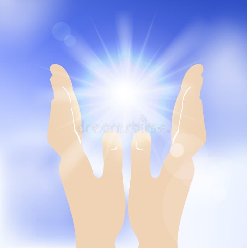 Sun nas mãos humanas contra o céu azul. ilustração stock