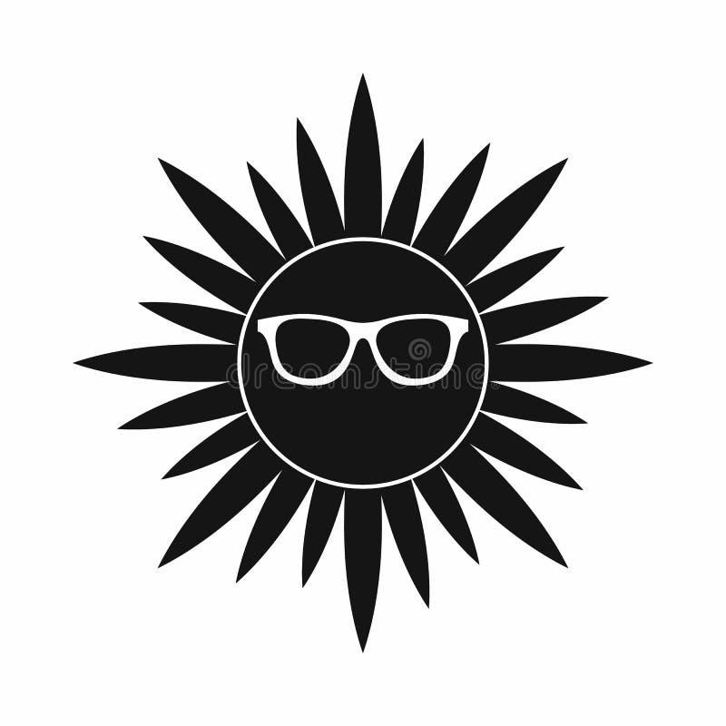 Sun no ícone dos vidros, estilo simples ilustração royalty free