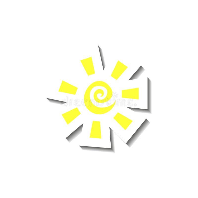 Sun no amarelo com raios do redemoinho e do quadrado no papel cortou o estilo com a sombra branca do esboço isolada no fundo bran ilustração royalty free