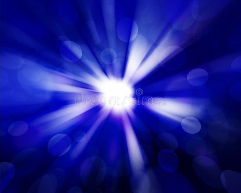 Sun no céu azul com alargamento das lentes ilustração do vetor