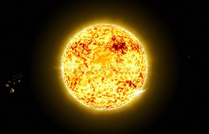 Sun no espaço com asteróide ilustração stock