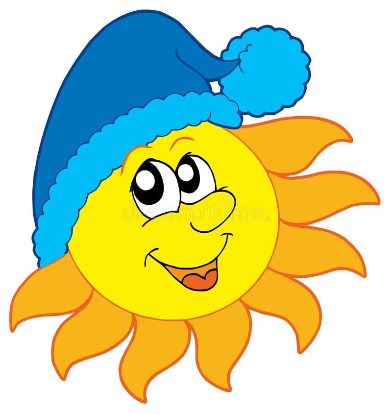 Sun no tampão do inverno ilustração stock