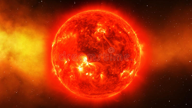 Sun no universo ou o espaço, o sol e a galáxia em uma nebulosa nublam-se ilustração do vetor