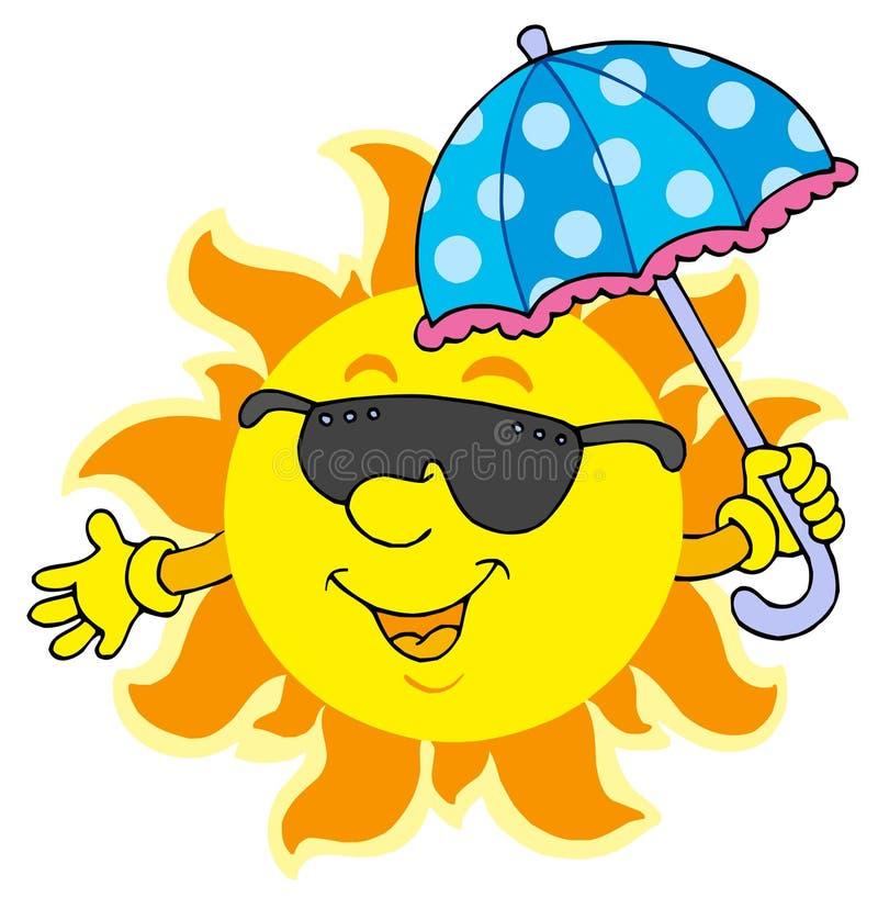 Sun nos óculos de sol com guarda-chuva ilustração royalty free
