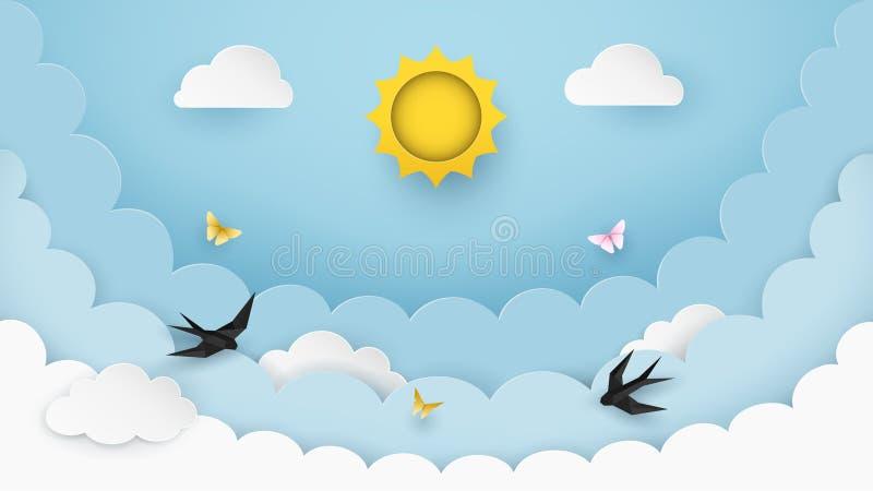 Sun, nubes, pájaros de vuelo y mariposas en el fondo claro de cielo azul Fondo nublado del paisaje Estilo del papel y del arte stock de ilustración