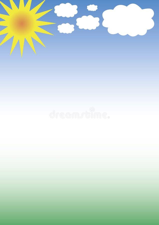 Sun, nubi, cielo e verde illustrazione vettoriale