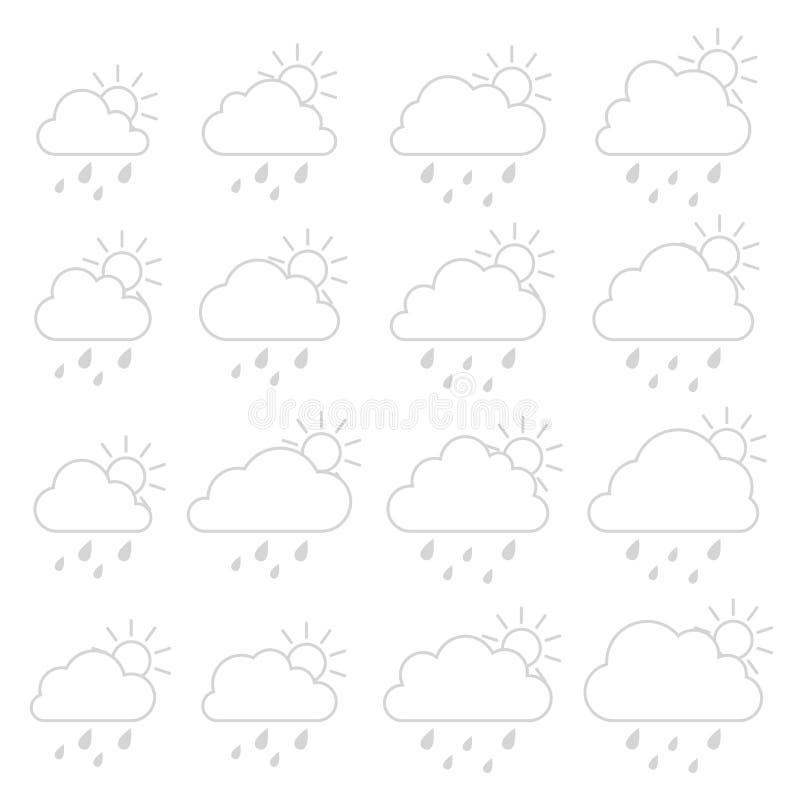Sun, nuvem com pingos de chuva em um fundo branco ilustração royalty free