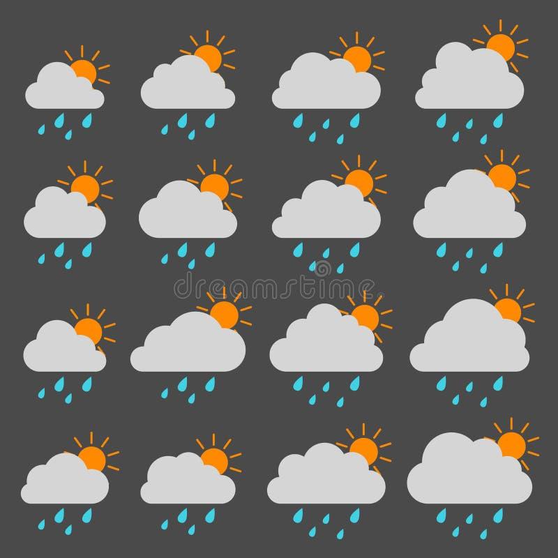 Sun, nuvem com pingos de chuva em um fundo cinzento ilustração stock