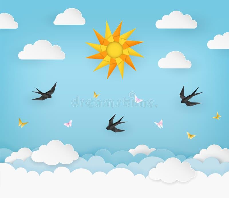 Sun, nuvens, pássaros, e borboletas no fundo azul claro do céu do verão Andorinhas do preto e borboletas cor-de-rosa e amarelas ilustração stock