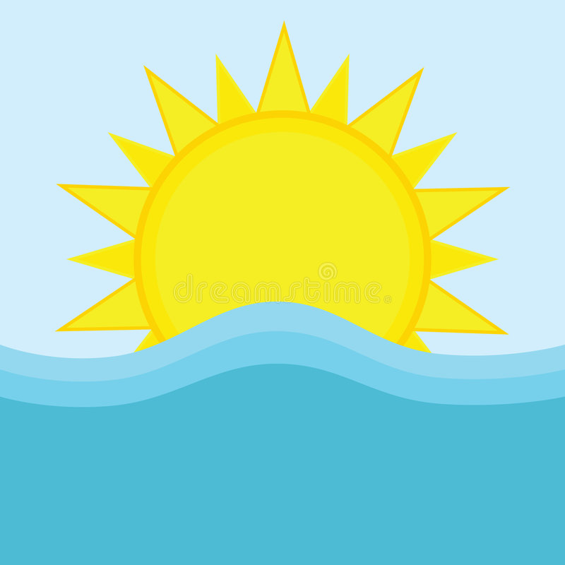 Download Sun and ocean stock vector. Image of water, warm, blue - 9330082