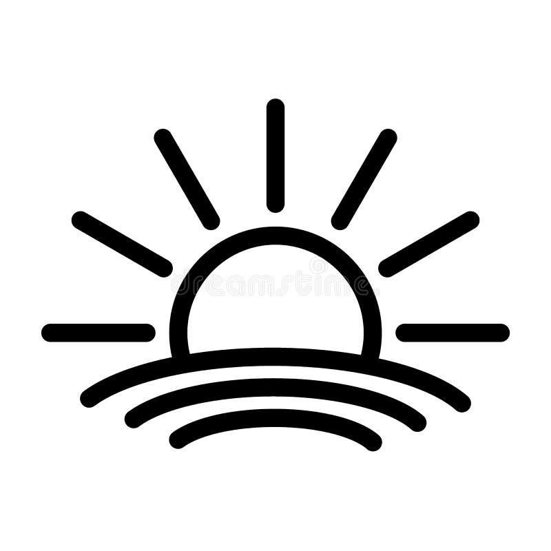 Sun ocean icon logo black vector illustration